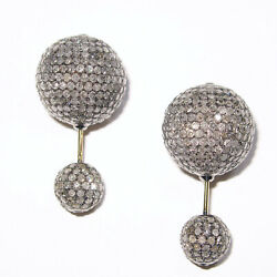 Pave Diamond 925 Silver Double Sided Ball Bead Earrings 18k Gold Fine Jewelry