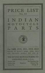 1909-1913 Indian Motorcycle Parts List - Antique Reproduction