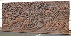 Huge 6' Antique Hand Carved Wood Figural African Wall Relief Sculpture Plaque