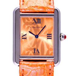 Free Shipping Pre-owned Tank Solo Sm W1019455 Orange Dial Watch