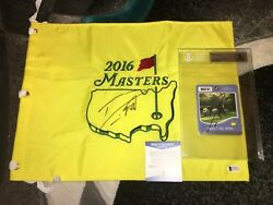 Danny Willett Signed 2016 Masters Flag And Masters Badge Beckett Authentic