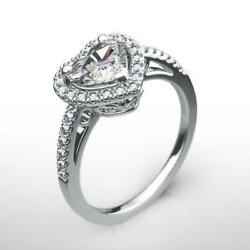 Halo Diamond Ring Real Estate Women 14 Kt White Gold Appraised 1.25 Carats