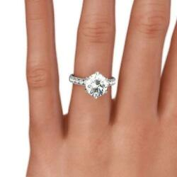 Colorless Diamond Round Brilliant Ring 1.54 Ct Estate 14 Kt White Gold 6 Prong
