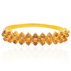 18kt Solid Yellow Gold 8.46ct Ice Diamond Bangle Designer Jewelry Gift For Girls