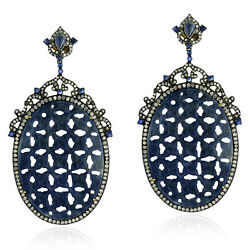 103.3ct Sapphire Diamond Gold 925 Sterling Silver Carved Dangle Earrings Jewelry