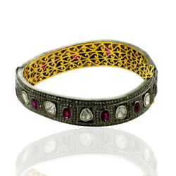 Rose Cut Diamond Ruby Designer Bangle 18k Gold 925 Sterling Silver Gift Jewelry
