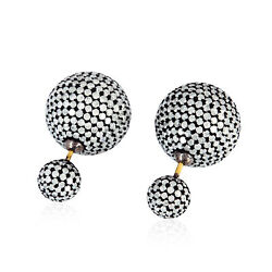 18k Gold 9.40 Ct Pave Diamond Sterling Silver Handmade Tunnel Earrings Jewelry