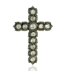 2.62ct Diamond 14k Gold 925 Sterling Silver Religious Cross Sign Pendant Jewelry