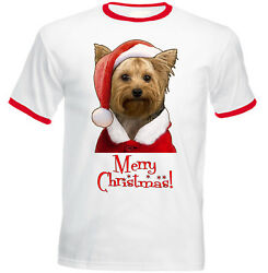 Merry Christmas Yorkshire Terrier Santa - NEW COTTON BASEBALL TSHIRT