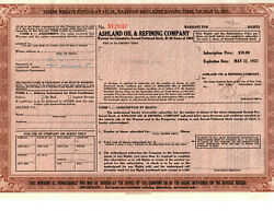Rare Vintage Ashland Oil And Refining Stock Certificate Warrant Options From 1952
