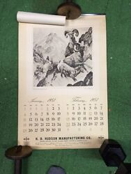 1953 Calendar H D Hudson Manufacturing Chicago Great Outdoors Wildlife Wall Larg