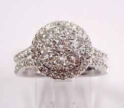 White Gold 1.50 Ct Diamond Engagement Ring Cluster Star Of David Cocktail Size 7