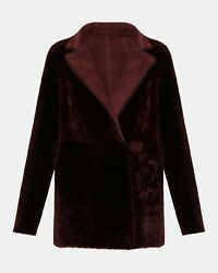 Theory Reversible Shearling Clairene Jacket Color Deep Mulberry Sizemedium