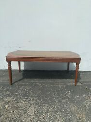 Antique Coffee Table Mahogany Leather Top Side Accent Nightstand Traditional