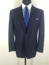 Brooks Bros. Vintage Made In Usa Blue Suit 2 Btn Center Vent 100 Wool 45 Long