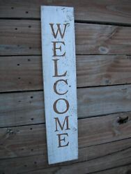 Wood Front Door Sign Welcome Porch Vertical White Farmhouse Handmade 33