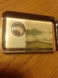 Antique 1930's Boat And Dock Faceted Paperweight Glass With Rare Dice Insert