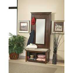 Mirrored Hall Tree Coat Rack Chic Furniture Hallway Decor Walnut Finish Mirror