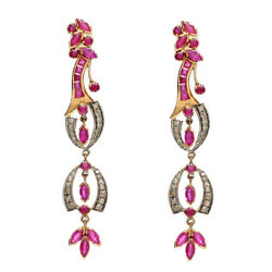 Pave Diamond 4.72ct Ruby Dangle Earrings 18kt Gold 925 Sterling Silver Jewelry