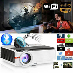 Led 1080p Android Projector Wifi Bt Smart Home Theater Movie Video Lcd Hdmi Zoom