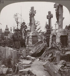 Stereoview. French Graves - A German Sniper Was Discovered Hidden In A Coffin