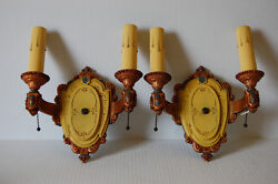 Two Pair Double Electric Candle Polychrome Sconces By Riddle Pull Chain Sockets