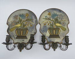Pair of Wheel Cut Gilded Electric Candle Wall Sconces Sterling Bronze New York