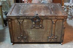 Arts And Crafts Pressed Steel Storage Chest Wrought Iron Hardware Art Nouveau