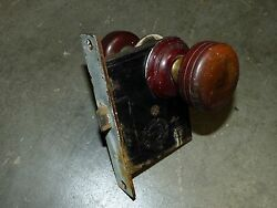 Matching Pair Wood Brass Door Knobs And Rosettes Cast Iron Mortise Lock 1870's