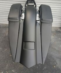 """7"""" Stretched Extended Saddlebags, Rear Fender And Side Cover Harley Baggers 14-18"""