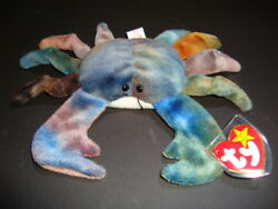 Ty Beanie Babies Claude The Crab 1996 - Pvc - Errors On Tags - Retired