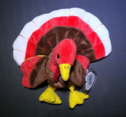 Ty Beanie Babies Gobbles The Turkey 1996 - Pvc - Errors On Tags - Retired