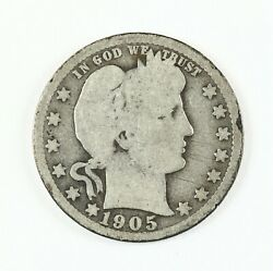 Raw 1905-o Barber 25c New Orleans Mint Circ Silver Quarter Coin