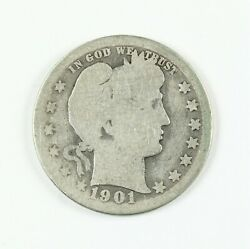 Raw 1901-o Barber 25c Uncertified Ungraded New Orleans Mint Silver Quarter Coin