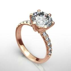 1.75 Carats Women Diamond Round Brilliant Ring 14k Rose Gold Red Vs1 Certified
