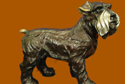 Handcrafted Detailed by Lost wax Method Schnauzer Terrier Bronze Sculpture Deco