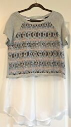 Nwt Dolan Left Coast Collection Womens L Short Sleeved Top Shirt Blouse