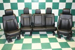 16' F250 65K Black Leather Dual Power Heat Cool Buckets Backseat Interior Seats