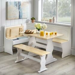 3 Pc White Wooden Top Breakfast Nook Dining Set Corner Booth Bench Kitchen Table