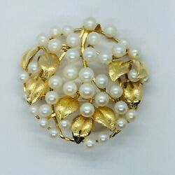 14k Gold Brooch Pin Filled With Pearls