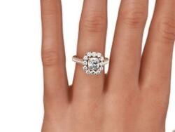 Diamond Halo Ring Filigreed 14 Kt Rose Gold Red 1.9 Carats Estate Certified