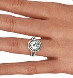 Diamond Halo Ring 1.75 Ct Wedding Awesome Women 18 Kt White Gold Size 4 1/2 - 9