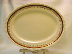 Johnson Brothers Old English 1930s Oval Serving Platter 14 Red Band Gold Trim