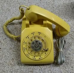 Yellow Western Electric Bell System Rotary Dial Desk Phone Fc12-1