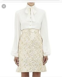 Dolce & Gabbana Bow Tie Silk Blouse Ivory 40