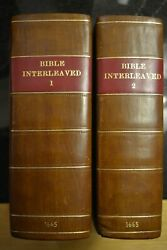 1665 Interleaved Bible In Two Volumes By John Bill And Christopher Barker - Rare