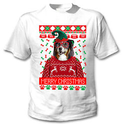 Black Collie Christmas COTTON WHITE TSHIRT