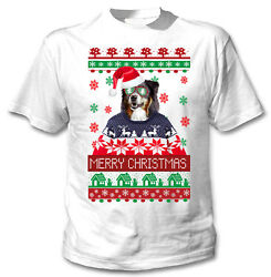 Black Collie merry Xmas COTTON WHITE TSHIRT