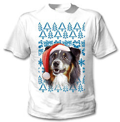 Black Collie Christmas Santa COTTON WHITE TSHIRT