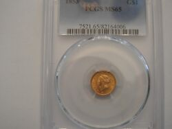 1853 1 Dollar Cold Coin Ms 65